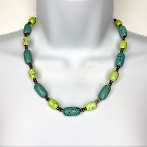 Jewelry - Faux Turquoise Stone & Silver Tone Beaded Necklace